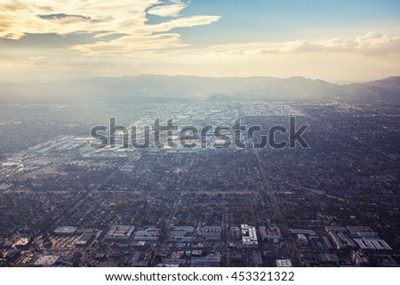 Aerial sunset view of San Fernando Valley in Los Angeles, California - stock photo