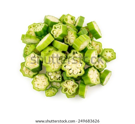 Aerial top view of isolated okra on white - stock photo