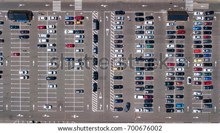Aerial top view parking many cars stock photo 700676002 for Car dimensions in feet india