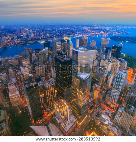 Aerial veiw of Downtown Manhatton New York  - stock photo