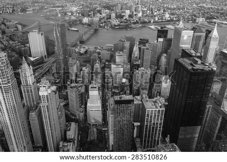 Aerial veiw of Downtown Manhatton New York
