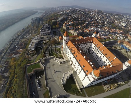 Aerial viev on Bratislava and its castle. - stock photo