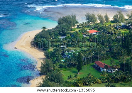 Aerial view a beach on Kauai Hawaii. More with keyword Series001A. - stock photo
