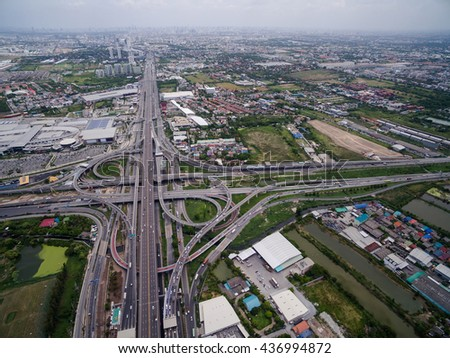 Aerial view above Motorway & Ring Roads Inter-Change Systems on the Outskirt of Bangkok, Thailand.