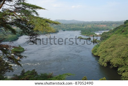 aerial view around the Bujagali Falls in Uganda (Africa) - stock photo