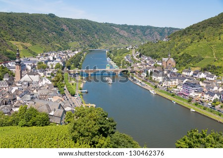 Aerial view at Cochem and river Moselle in Germany - stock photo