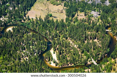 Aerial View at Yosemite National Park - stock photo