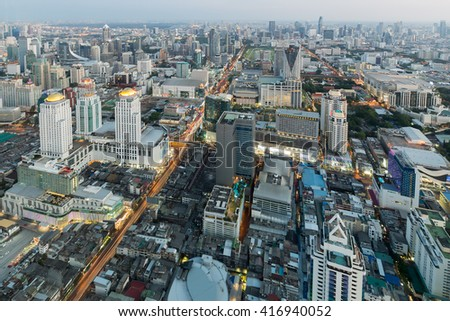 Aerial view, Bangkok business area before sunset, Thailand - stock photo