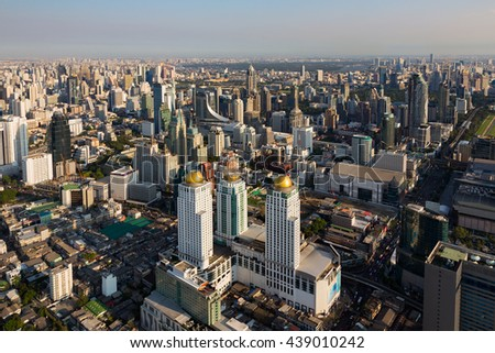 Aerial view, Bangkok central business downtown, Thailand - stock photo