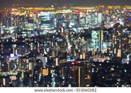 Aerial view blurred bokeh lights, Tokyo city, Japan - stock photo