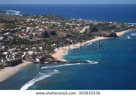 Aerial view boucan canot reunion island