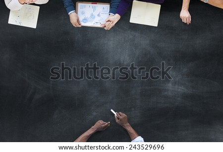 Aerial View Business People Community Planning Brainstorming Concept - stock photo