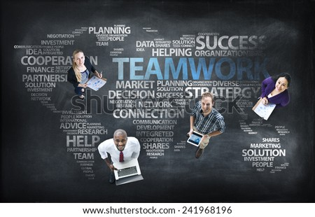 Aerial View Business People Working Global Communications Concept - stock photo