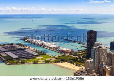 Aerial View (Chicago Downtown)  - stock photo