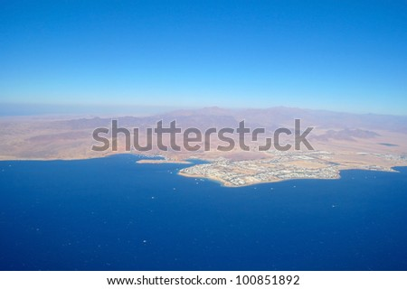Aerial view city and sea ,Sharm el Shiekh. - stock photo