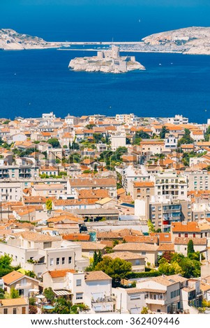 Aerial view, cityscape of If Castle in Marseilles, France. Sunny summer day with bright blue sky.