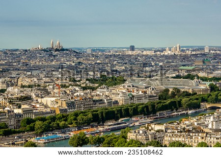 Aerial view cityscape of Paris in france. - stock photo