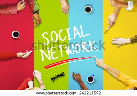 Aerial View Colorful Business People Social Networking Concepts - stock photo