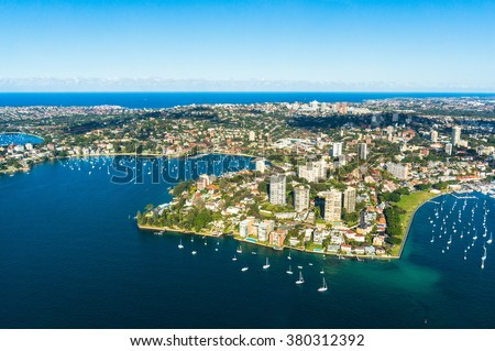 Aerial view Double bay, Sydney, Australia. View on Sydney harborside suburbs from above. Aerial view on Sydney harborside, Rushcutters bay, Double bay, Darling point,  Point piper, Darling point wharf - stock photo