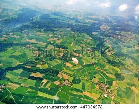 aerial view - fields and farmland