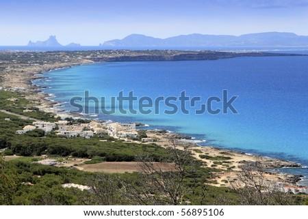 aerial view Formentera balearic island Ibiza horizon Spain Mediterranean sea - stock photo