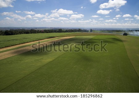 Aerial view from a sugar cane farm - stock photo