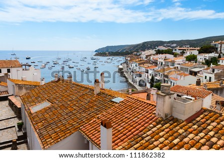Aerial view from above of Cadaques, Costa Brava, Spain - stock photo