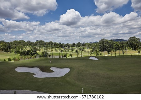 Aerial view from Mass Rapid Transit (MRT) train over an empty golf course at Kuala Lumpur Malaysia.