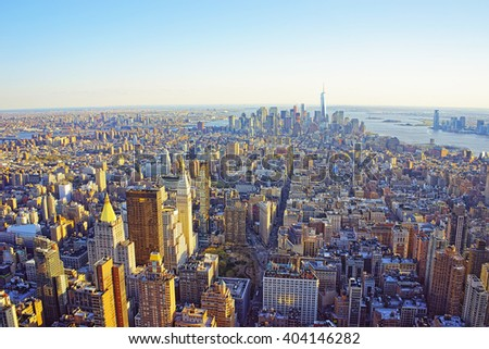 Aerial view from Observatory deck in the Empire State Building on Flatiron district of New York. Downtown Manhattan, Lower Manhattan and Brooklyn are on the background. - stock photo