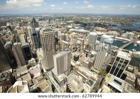 Aerial view from Sydney Tower looking towards the western suburbs of Sydney Australia - stock photo