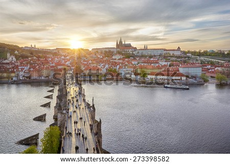aerial view from the Bridge tower on Charles Bridge and Prague Castle, Czech Republic - stock photo