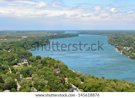 aerial view from the Brock's Monument towards the town of Queenston, and the Niagara River, Ontario Canada - stock photo