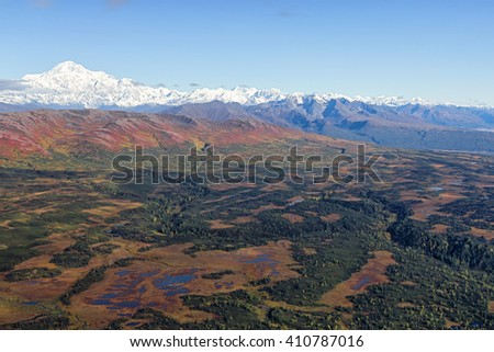 Aerial view from the south side of Mount McKinley in the Denali National Park and Preserve, Alaska