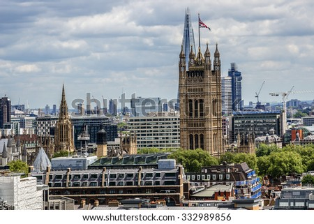 Aerial View from Westminster Cathedral on Roofs and Houses of London, United Kingdom.