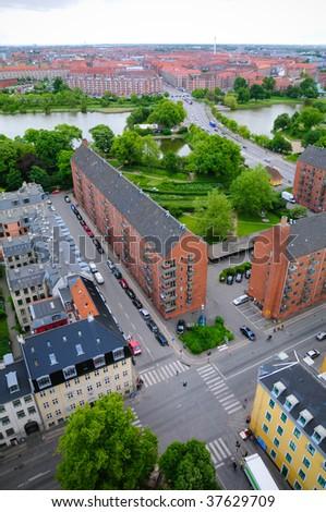 Aerial view in City Copenhagen - stock photo