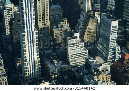 Aerial view in Manhattan, New York, United States.