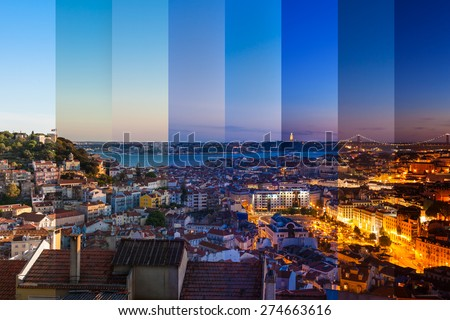 Aerial view montage of Lisbon rooftop from Senhora do Monte viewpoint (Miradouro)  fromn day to night in Portugal - stock photo