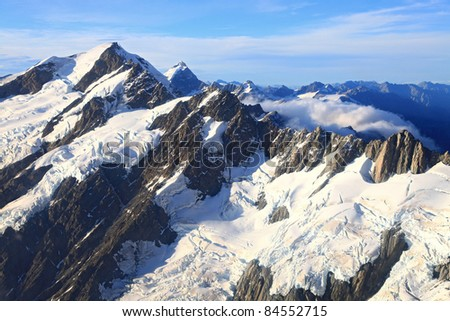 aerial view Mountain Cook Peak from Helicopter, New Zealand - stock photo