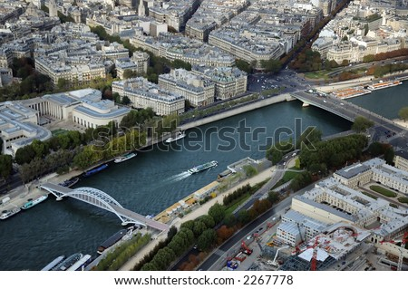 Aerial view north over the River Seine with  Palais de Tokyo beyond. - stock photo