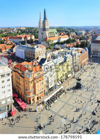 Aerial view of a Ban Jelacic Square in Zagreb , Croatia