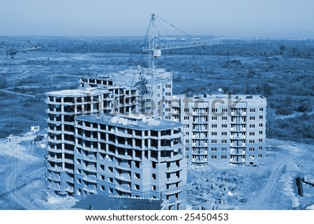 Aerial view of a building area. Colorize in blue - stock photo