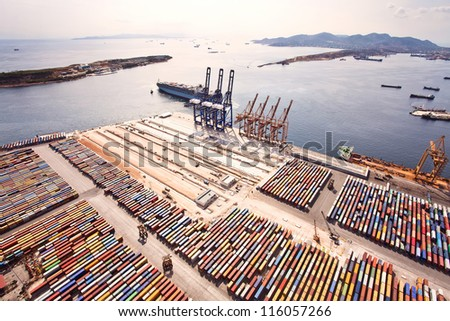 Aerial view of a cargo dock - stock photo