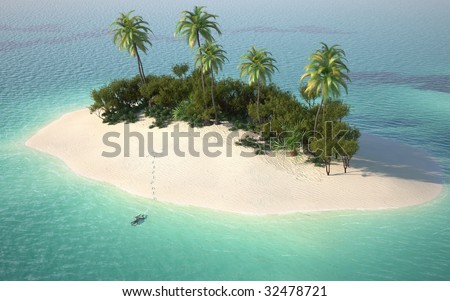 aerial view of a caribbean desert island in a turquoise water with a woman diving as a concept for quiet vacations - stock photo