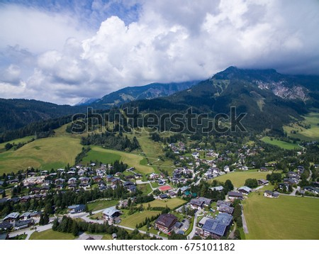 Aerial view of a city in the mountains