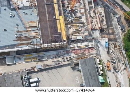 Aerial View of a Construction Site with Workers