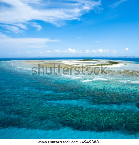 Aerial view of a deserted tropical coral island, Okinawa, Japan