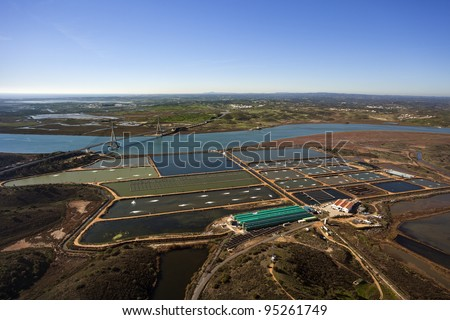 Aerial view of a fish farm - stock photo