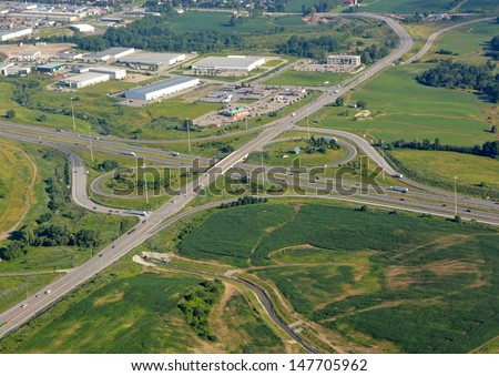 aerial view of a highway intersection leading to the garden Avenue in Brantford Ontario Canada - stock photo