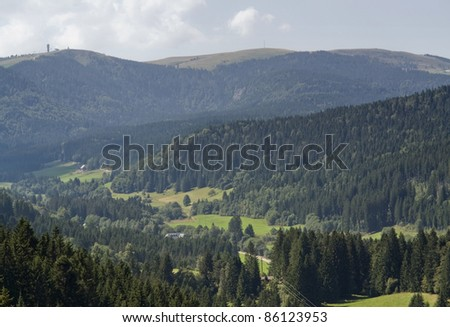 aerial view of a idyllic scenery in the Black Forest (Southern Germany) at summer time - stock photo