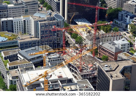 Aerial view of a large construction site in the financial district of  Frankfurt Am Main, Germany. - stock photo